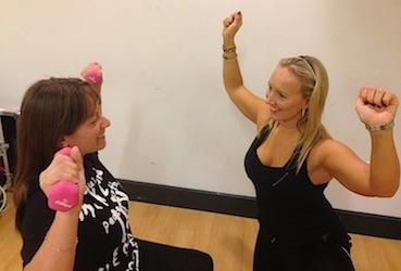 Angela Clover personal trainer with client